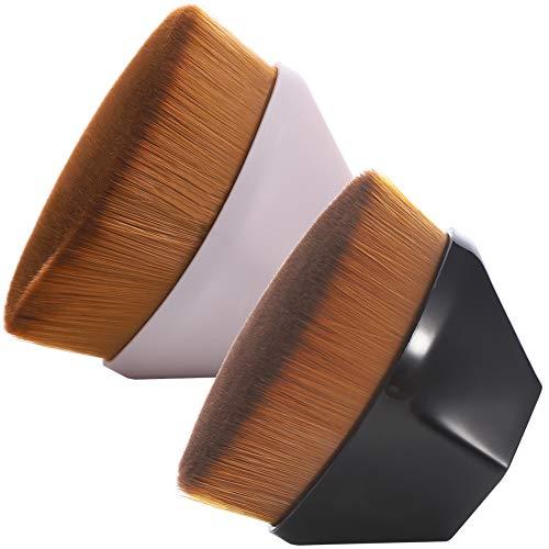 You&Lemon 2 Stücke Foundation Pinsel mit Schutzhülle Make up Foundation Bürste Profi Make up Pinsel Flat Top Gesicht Groove Design Burste Mischen von Flüssigkeit, Blush und Concealer (Schwarz + Pink)