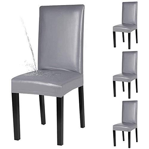 Fuloon Stuhlhussen 4er Set, Wasserdichtes Pu Leder Stretch Stuhlüberzug Bi-elastische Spannbezug, Moderne Stuhl Abdeckung für Esszimmer Dekor