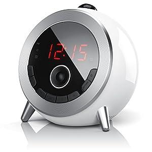 Brandson - Despertador con Radio FM Retro Despertador-proyector Radio con Reloj Despertador Digital - Proyección de la Hora - Radio FM - Elegante diseño Redondo - Giratorio 180 Grado - Blanco