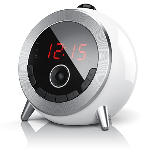 Brandson - Alarm Clock with FM Radio Retro Alarm Clock-projector Radio with Digital Alarm Clock - Time Projection - FM Radio - Elegant Round Design - Rotary 180 Grade - White