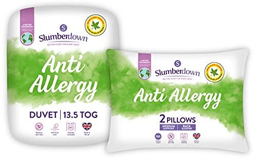 Slumberdown Anti Allergy Double Duvet 13.5 Tog Winter Duvet Double Bed Plus 2 Medium Pillows