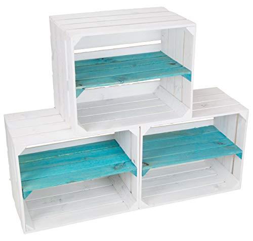 Kistenkolli Altes Land Juego de 3 cajas para estanterías, color blanco barnizado con tabla longitudinal turquesa