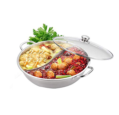Yzakka Stainless Steel Shabu Hot Pot with Divider for Induction Cooktop Gas Stove, 13'
