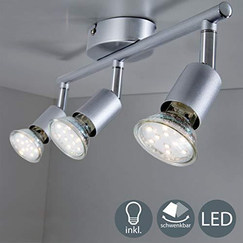 B.K.Licht LED Deckenleuchte Schwenkbar inkl. 3 x 3W GU10 LED Lampen, 250LM, Warmweiß, 230V, IP20, Silber, LED Deckenstrahler, LED Deckenlampe, LED Deckenspot