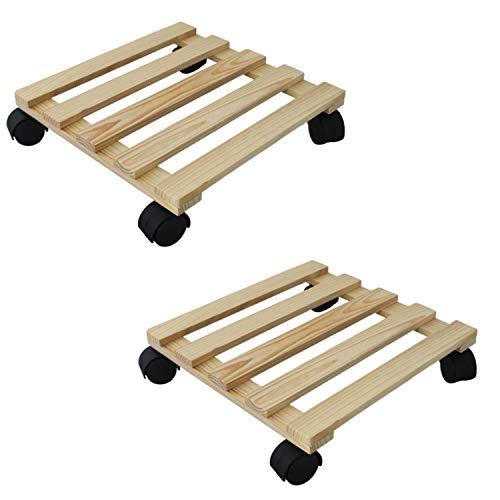 2x Holz 30x30cm Pflanzenroller mit Lenkrollen | Rolluntersetzer | Transportroller | Rollbrett | Untersetzer für Blumentöpfe