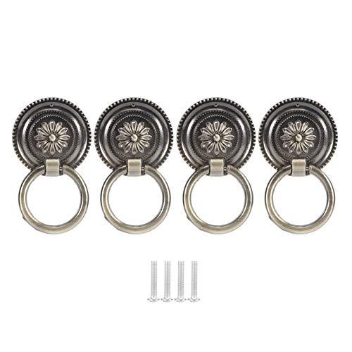 Manijas de gabinete de 4 piezas de estilo europeo conveniente para instalar manija de puerta anillo de puerta aldaba antiguo para puertas y gabinetes de hogar u oficina(Verde antiguo-grande)