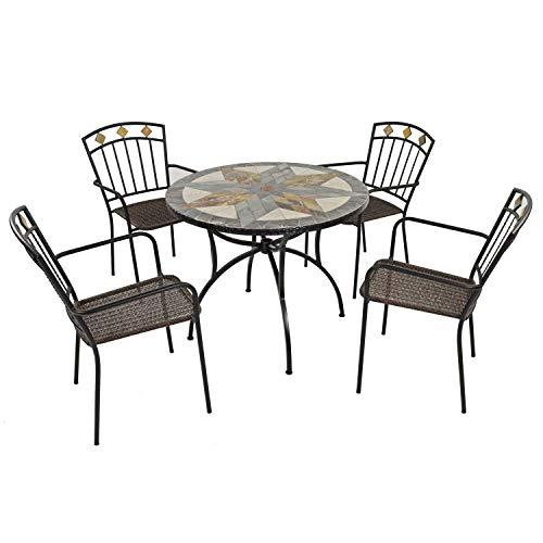 EXCLUSIVE GARDEN MONTILLA 91cm Patio with 4 MALAGA Chairs Garden Furniture Set, Natural Green, Brown & Dark Grey Tones