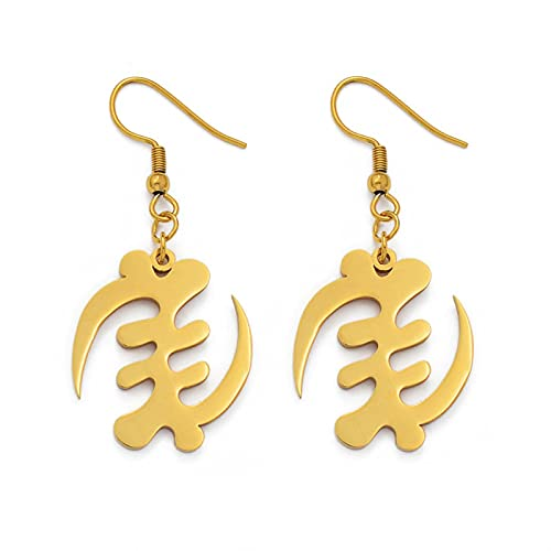 Pendientes de símbolo africano, oro rosa/dorado, acero inoxidable, Adinra Gye Nyame, étnicos, # 061821