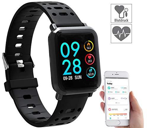 newgen medicals Uhr mit Blutdruck: Fitness-Uhr SW-320.hr mit Herzfrequenz-Anzeige, Bluetooth, IP68 (Smartwatch Blutdruck Messen)