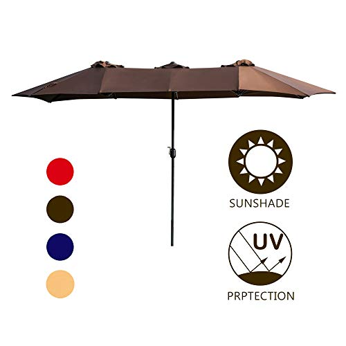 LOKATSE HOME Double-Sided Market Patio Outdoor Umbrella, 15 Feet Garden Aluminum Umbrella Twin Sun Canopy Umbrella with Crank (Brown)