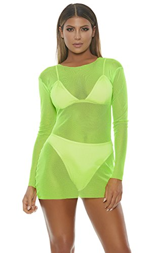Forplay Damen Mesh Mini Dress Kostüme für Erwachsene, neon Green, Small/Medium