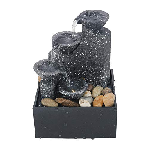 JJSCHMRC Fuente de meditación aura de 3 niveles con luz LED, sonido de agua relajante, fuente de escritorio fuentes de interior, fuente de mesa cascada para decoración de oficina en el hogar