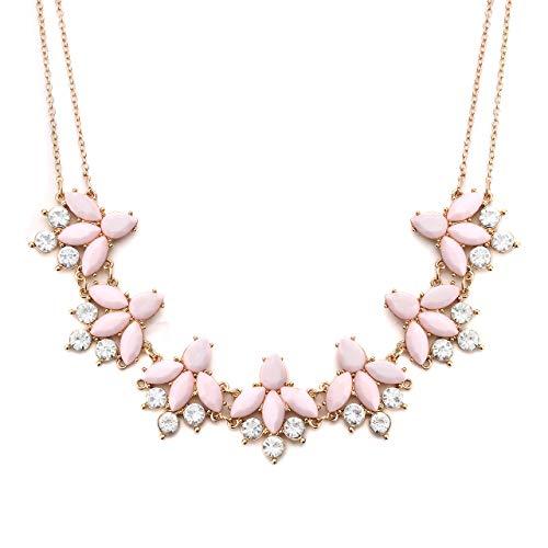 LIAO Jewelry Collar de Flores de Cristal para Mujer, Collar de Gargantilla con Diamantes de imitación Florales