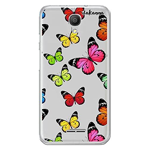 dakanna Funda para [ Alcatel Pixi 4 3G (5.0 Inch) ] de Silicona Flexible, Dibujo Diseño [ Estampado de Mariposas Multicolor ], Color [Fondo Transparente] Carcasa Case Cover de Gel TPU, Smartphone