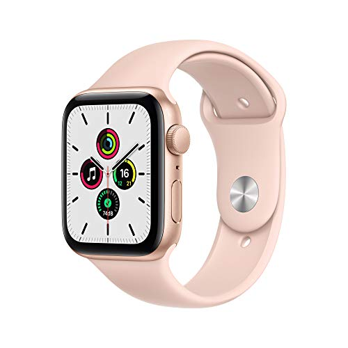 Newest Apple Watch SE (GPS Model) - 44mm Gold Aluminum Case with Pink Sand Sport Band + Power Bank for Belkin Apple Watch 2200mAh