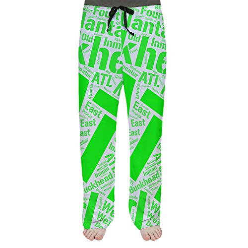 Best Prices! ArtVerse Rand Cites Atlanta, Georgia Districts Word Art-Green Men's Pajama Pants
