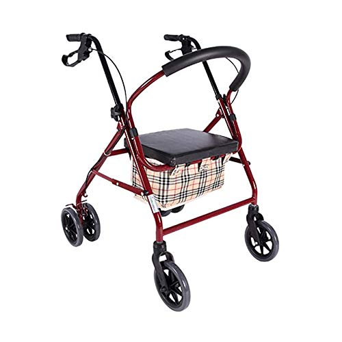 TJP Faltbare Mehrzweck-Vier-Rad-Einkaufswagen-tragbare leichte Rollstuhl-Roller-Taschen-Bremse Home Warenkorb mit Sitz, kann 150 kg tragen