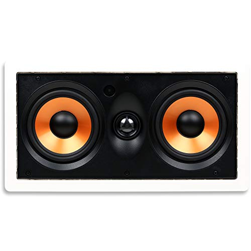 Micca M-CS Dual 5.25 Inch 2-Way MTM in-Wall Speaker with Pivoting 1' Silk Dome Tweeter (Each, White)