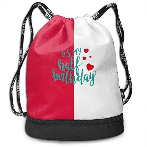 KLing Es mi Mochila de Medio cumpleaños con cordón para Hombre y para Mujer, Bolsos 100% poliéster duraderos