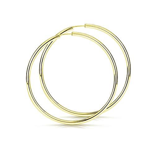 Materia große Damen Creolen Gold 60mm - 925 Sterling Silber Ohrringe rund Reifen XXL vergoldet nickelfrei SO-109