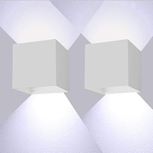 LEDMO 12W*2 Lampade da Parete per Interni/Esterno LED Moderno, Applique da Parete Muro in Alluminio Angolo,Lampada Muro su e Giù Regolabile Design IP65 Impermeabile 6000K Bianco