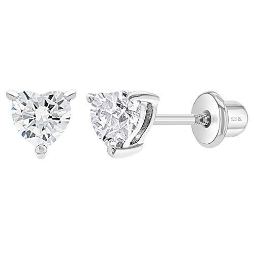 925 Sterling Silver Toddler & Girl's 4mm Clear Heart Shape Cubic Zirconia Earrings Safety Screw Back - Timeless and Classic Earring Set for Young Girls