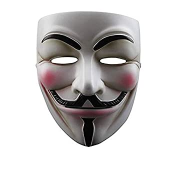 NEVLANTII V for Vendetta Guy Fawkes Mask Anonymous Mask Halloween Costume Hackers Mask Cosplay Party Mask One Size