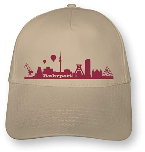 Samunshi® Kappe Ruhrpott Skyline Baseball Cap 5 Panel Cap OneSize Khaki/Bordeaux