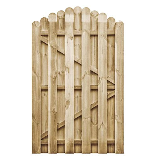 Zerone, cancello da giardino, recinzione, cancello da cortile in legno di pino impregnato, 100 x 150 cm