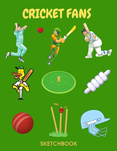 Cricket Fans: Sketchbook for Kids with 120 pages of 8.5