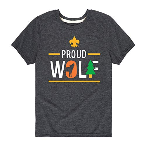 Boy Scouts of America Icon Wolf Cub Scout - Youth Short Sleeve Graphic T-Shirt Heather Charcoal