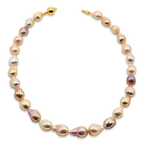 Secret & You Collar de Perlas de Mujer Cultivadas de Agua Dulce Barrocas Grandes Multiculor Natural de 45 cm de Largo Perlas Barrocas de 11-13 mm con Brillo Metálico y Nudo Entre Cada Perla.