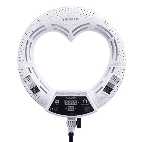 Yidoblo LV-960DII - Pantalla digital regulable de 96 W con forma de corazón para maquillaje en directo, luz LED para selfie YouTube, cámara de vídeo, teléfono con mando a distancia por infrarrojos