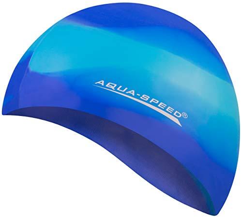 Aqua Speed BUNT Badekappe + Kleines Mikrofaserhandtuch | Damen & Herren | Schwimmmütze Bademütze elastisch | Silikon Badehaube Sport | Schwimmhaube Triathlon | Schwimmen Kappe | 62. Bunt / 83