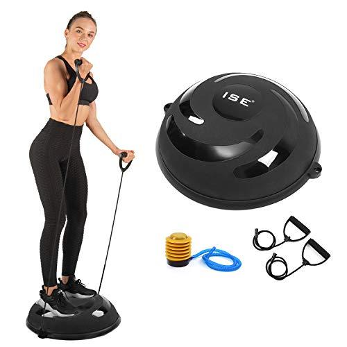 ISE Balance Trainer Ø 58 cm Palla Fitness Palestra Ball, Attrezzatura Fitness con Corde Elastiche, Max. 150KG, BAS1004 Nero