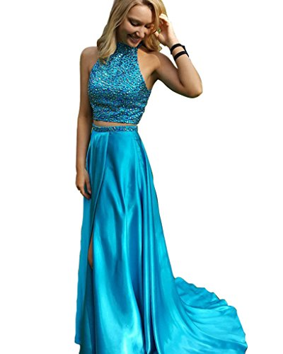 HONGFUYU Royal Blue Prom Dresses Two Pieces Slit Prom Gowns Pink-US8