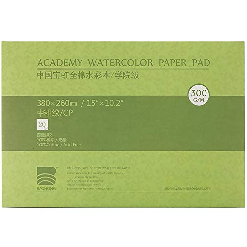 MEEDEN 15×10.2' Cotton Watercolor Paper Textured Surface Watercolor Pad, Cold Press, 140lb/300gsm, 20 Sheets