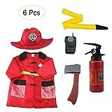 Makluce Feuerwehrmann Anzug 2020 6er Kinder Feuerwehr Kostüm Spielhaus Rollenspiel Prop Kostüm