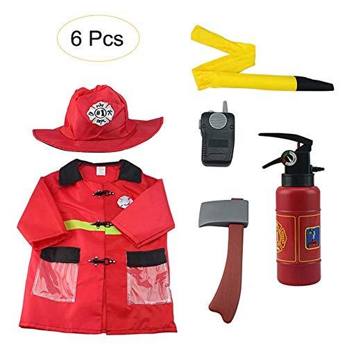 Costume de chef des pompiers pour enfants, Halloween Fireman Dress Up Set, tenue de pompier, faites semblant de jouer au rôle de pompier pour un enfant de 3 à 6 ans