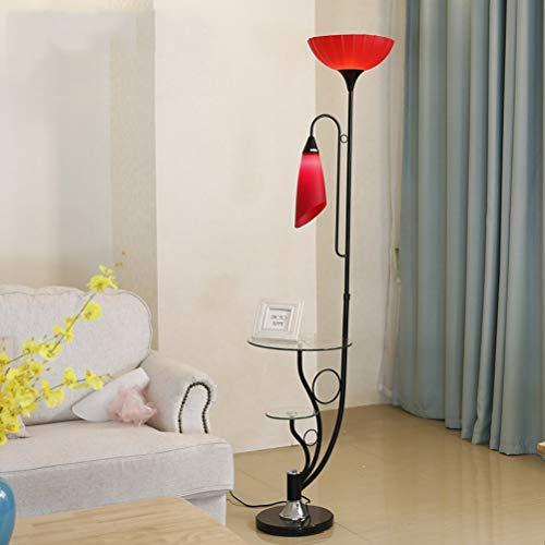 ACHNC Stehlampe Wohnzimmer, 2 Flamme Blütenform Standleuchte LED Modern Deko Nachttischlampe Stehleuchte Mit Fußschalter,Glas Ablage, Augenschutz Leselampe Für Wohnzimmer Schlafzimmer,Rot