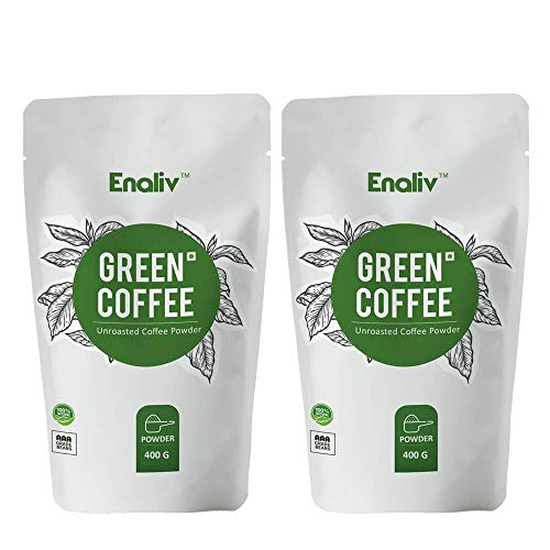 Enaliv Organic AAA Grade Green Coffee Powder For Strengthening Immunity & Weight Loss – 400 Grams (Pack of 2)