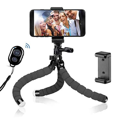 BSET BUY Tripod Oktopus Handy Stativ Kamera-Stativ Ständer Dreibein Stativ Halter für Kamera und jedes Smartphone inklusive Handyhalterung (Stativ mit Bluetooth-Fernbedienung)