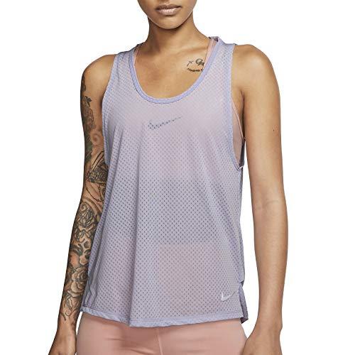 Nike W Nk Miler Tank Breathe, Maglietta Senza Maniche Donna, Lavanda/Argento (Lavender Mist/Reflective Silv), XS