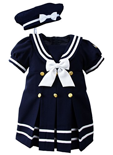 Spring Notion Baby Toddler Girls Nautical Sailor Dress with Hat Style-A Extra Large /18-24 Months Navy