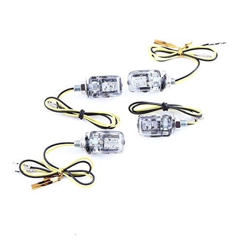 VGEBY 4Pcs 12V Feux Clignotant LED Moto indicateurs Universel Lumière Ambre Feux de Signal Ampoule Lampe signalisation (Couleur : Plated Silver)