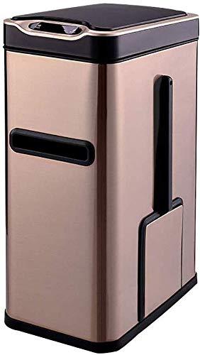 JXXDDQ - Papelera de inducción inteligente 3 en 1, inducción rápida, 0,3 segundos con tapa y escobilla de inodoro hecha de cartón para caja de almacenamiento
