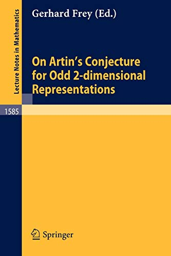 On Artin's Conjecture for Odd 2-dimensional Representations (Lecture Notes in Mathematics (1585), Band 1585)