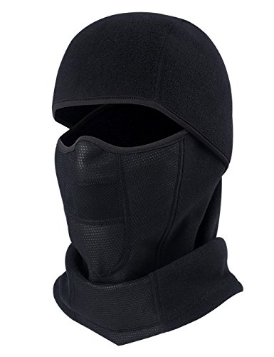 ChinFun Balaclava Winter Fleece Thermal Half Face Mask with Front Neck Protection for Outdoor Windproof Riding Motorcycle Cycling Hiking Camping Skiing Climbing Fishing Hunting Jogging Tennis Black