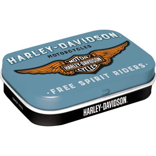 Nostalgic-Art 81380 Harley-Davidson - Logo Blue | Pillen-Dose | Bonbon-Box | Metall | gefüllt mit Pfefferminz-Dragees