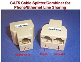 Dualcomm RJ45 / RJ11 Cable Sharing Kit - Connecting Your Ethernet and Telephone Lines by One Network Cable